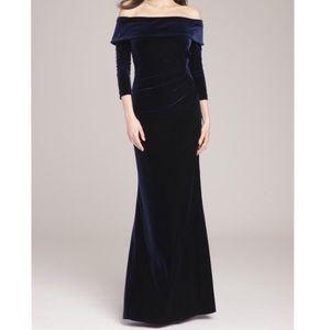 Rickie Freeman Blue Velvet Formal Event Gown Dress